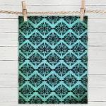 Ethnic Symmetry Turquoise Pattern- ..