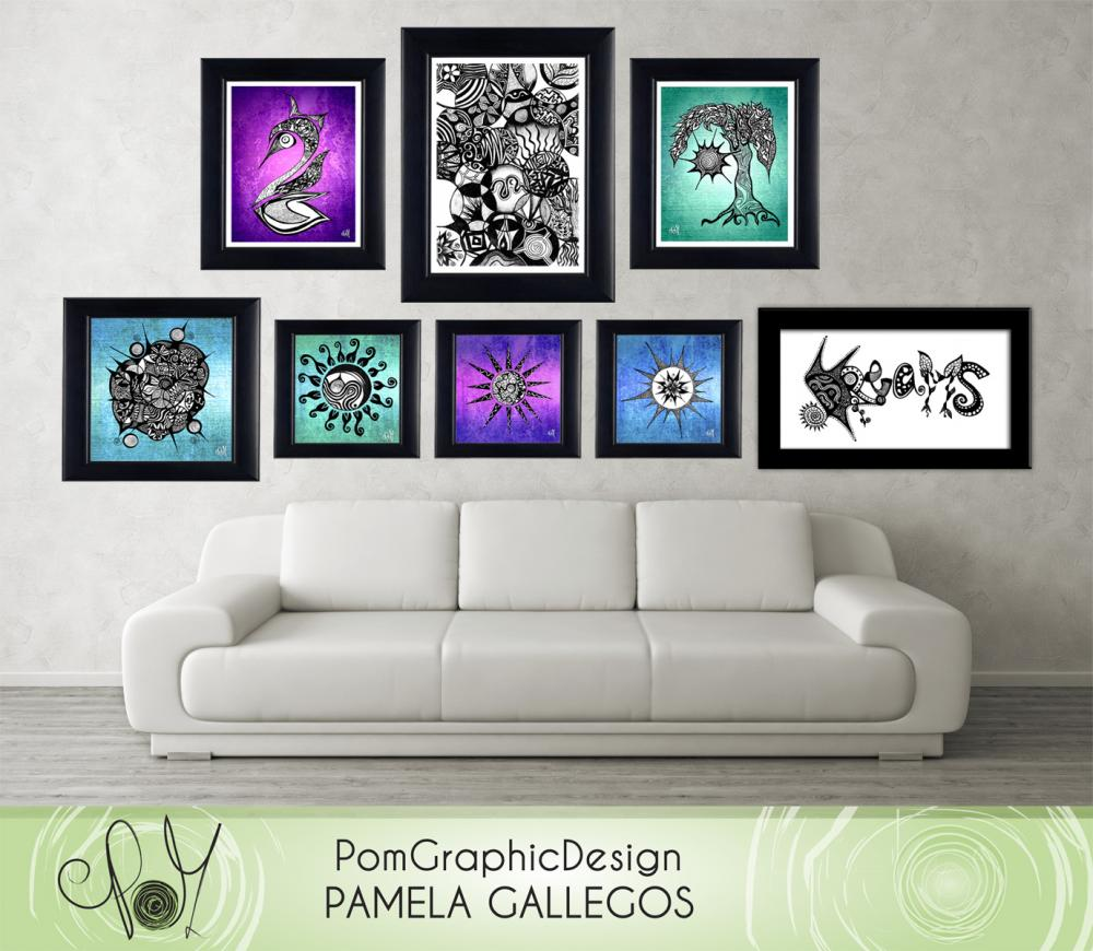Printable Wall Art Poster DIY - 2 Digital illustrations