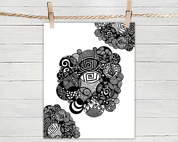 Poster print 8x10 black and white organic circles of fine art illustration for your wall decor