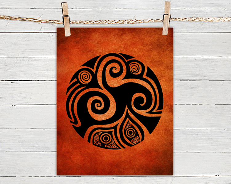 Poster Print 8x10 - Spirals In My Life Red - of Tribal Illustration for Your Wall Decor