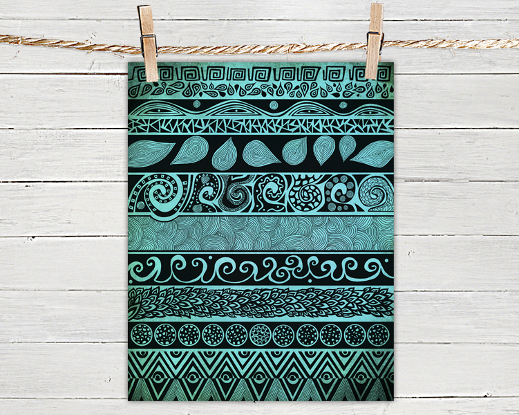 Poster Print 8x10 - Turquoise Tribal Evolution - For Your Home Decor