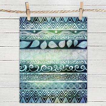 Poster Print 8x10 - Dreamy Tribal Pattern - For Your Home Decor