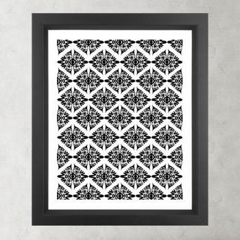 Ethnic Symmetry White Pattern- Poster Print 8x10 - of Fine Art Illustration for Your Wall Decor