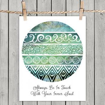 Tribal Evolution Quote Turquoise - Poster Print 8x10 - of Fine Art illustration for Your Wall Decor